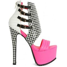 Pink Houndstooth Gladiator Sandal High Add zest to your outfit, impress and be gorgeous. Save money at Cutesy Originals. Awesome shoes for the right price. Peep Toe Heels, Stiletto Heels, Shoes Heels, Pumps, Platform Stilettos, High Heels, Lime Green Shoes, Jeweled Shoes, Houndstooth