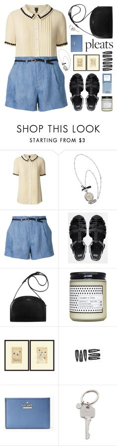 """""""pleated silk blouse"""" by jesuisunlapin ❤ liked on Polyvore featuring Orla Kiely, Guild Prime, ASOS, Kate Spade, Paul Smith, vintage, VintageInspired, jellysandals, pleats and JeSuisunLapin"""