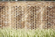Remisenpavillon by Wirth Architekten is a perforated brick multi-use outhouse German Architecture, Brick Architecture, Architecture Details, Contemporary Architecture, Contemporary Apartment, Concept Architecture, Brick Wall Gardens, Brick Garden, Garden Walls