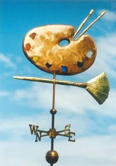 Artists Palette Weather Vane by West Coast Weather Vanes. This handcrafted custom made Artist's weathervane can be made using a variety of metals and accents! Love This Artistic Weather Vane Design! Weather Vain, Lightning Rod, Les Themes, Shop Signs, Yard Art, Art Studios, Metal Working, Folk Art, Sculptures