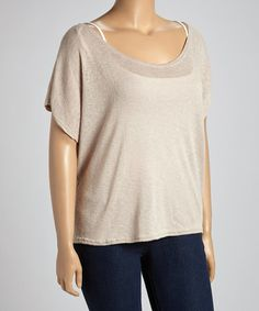 Another great find on #zulily! Tan Scoop Neck Top - Plus #zulilyfinds