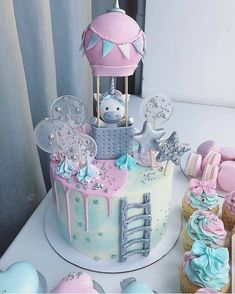 ¿¿¿¿SI O NO? Pastel de pastel Amaziiing con estos pasteles🎈🎈🎈🎈🍭🍭ð . Baby Birthday Cakes, Baby Cakes, Baby Shower Cakes, Beautiful Cakes, Amazing Cakes, Fondant Cakes, Cupcake Cakes, Pastel Cakes, Cake Decorating Techniques