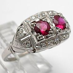 Antique Art Deco Ruby & Diamond Ring Solid Platinum