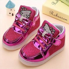 Tiny Baby Shoes | Diamond Kitty Pink LED High Tops