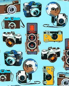 Vintage Cameras Aqua Blue The Times of Your Life Collection by Maria Kalinowski Canvas Kanvas Studios for Benartex Fabrics  - 1 Yard. $10.50, via Etsy.