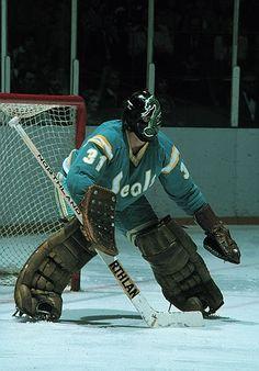 Simmon's as a California Golden Seal Hockey Shot, Hockey Goalie, Ice Hockey, Gary Simmons, Nhl, Goalie Mask, Good Old Times, Masked Man, National Hockey League