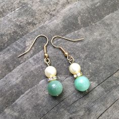 Amazonite Pearl and Crystal Rondelle Earrings by TripIntoLight, $11.00