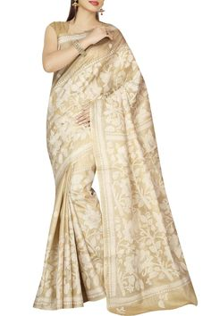 Tussar & off-white Kantha