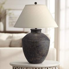 Massa Black Terracotta Jar Table Lamp - Quick Look Hygge, Boho Home, Contemporary Table Lamps, Black Lamps, Fabric Shades, Lamp Shades, Home Interior, Decoration, Terracotta