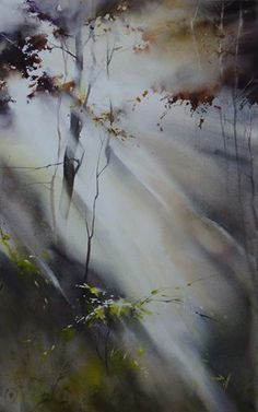 """""""Surrounded by light"""" By Ilya Ibryaev (Ибряев Илья), from Moscow, Russia (b. 1955) - watercolor; 67 x 42 cm -"""