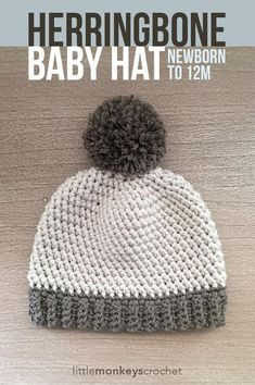 """Your little one will stay warm and snuggly in this adorable hat made with the Herringbone HDC stitch, a welcome change from the typical HDC hat. Add an optional pom pom for extra cuteness! Crochet Baby Hats Free Pattern, Crochet Baby Boy Hat, Crochet Hats For Boys, Crochet Beanie, Crochet Patterns, Free Crochet, Newborn Crochet Hats, Crocheted Hats, Baby Hats Knitting"