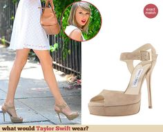 Taylor Swift's nude sandals. Outfit Details: http://wwtaylorw.com/3121