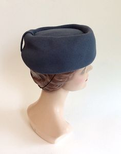40s Blue Jeanne Tete Wool Hat / 1940s by CheshireVintageShop
