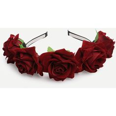 Burgundy Flower Crown Hairband (2.315 HUF) ❤ liked on Polyvore featuring accessories, hair accessories, hats, hair, headband, floral garland, garland headband, hair band accessories, head wrap headband and flower crown headband