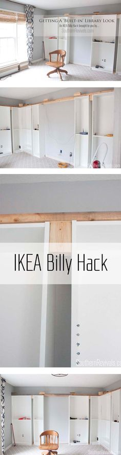 Office Makeover Part 1 - How to get a 'Built-in Look' without spending a forturne with the help of the IKEA Billy bookcases. IKEA Hack - Southern Revivals