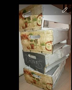 These Upcycled Wooden Drinks Bashews Boxes adds a Rustic feel to ur Function.. Instagram:  shabby rococo Rustic Feel, Rococo, Decoupage, Upcycle, Shabby, Boxes, Ads, Canning, Drinks