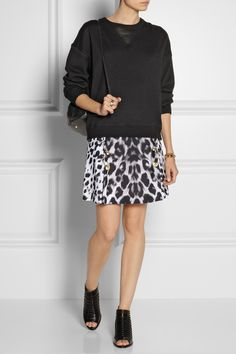 Jason Wu | Wool and satin sweatshirt | Versus | Leopard-print cady mini skirt | 3.1 Phillip Lim | Dede open-toe leather ankle boots | Elizabeth and James | Sling textured-leather backpack |