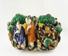 Antique 19th Century Chinese Export Figural Landscape Pottery Planter Bowl | eBay