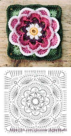 Transcendent Crochet a Solid Granny Square Ideas. Inconceivable Crochet a Solid Granny Square Ideas. Crochet Mandala Pattern, Crochet Motifs, Crochet Blocks, Granny Square Crochet Pattern, Crochet Diagram, Crochet Squares, Crochet Chart, Crochet Granny, Diy Crochet