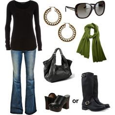 black, green & jeans outfit