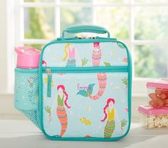 Mackenzie Aqua Mermaids Classic Lunch Bag | Pottery Barn Kids