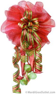 Party Ideas by Mardi Gras Outlet: DIY Christmas Bow Video: Double Bow with Deco Mesh Deco Mesh Bows, Deco Mesh Crafts, Wreath Crafts, Diy Wreath, Mesh Ribbon, Wreath Ideas, Christmas Bows, Christmas Projects, Holiday Crafts