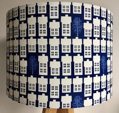 Scandic houses and trees dark blue lampshade by BrightElement on Etsy Tree Table, A Table, Dark Blue Houses, Blue Lamp Shade, Contemporary Fabric, Lampshades, Blue Fashion, Blue Fabric, Fabric Design