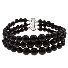 3 Row Black Onyx Round Journey Bead Bracelet Sterling Silver clasp Jewelry for Women ** Click image for more details. #Jewelry