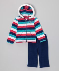 Take a look at this Pink & Navy Fleece Zip-Up Hoodie & Pants - Infant & Toddler by Penny M on #zulily today!