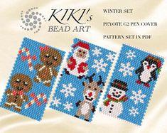 Pattern, peyote pen cover, Santa and Rudolph, Snowman, Penguin peyote pattern set of 3 for pen wrap for G2 Pilot pen in PDF instant download