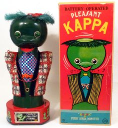 """zgmfd: """" battery operated """"Pleasant Kappa the Funny River Monster"""" tin toy (Asakusa, Japan) """" Kappa Japanese, How Are Things, Doll Toys, Dolls, River Monsters, Japanese Monster, Monster Toys, Puzzle Toys, Tin Toys"""