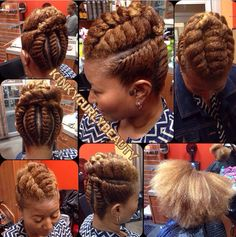 I love this flat twist updo!❤️❤️- I love this flat twist updo!❤️❤️ I love this flat twist updo! Natural Hair Updo, Natural Hair Care, Natural Hair Styles, Natural Hair Highlights, African Hairstyles, Cool Hairstyles, Beautiful Hairstyles, Black Hairstyles, Beautiful Braids