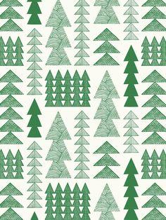 Nordic Forest Wallpaper Sample - Emerald