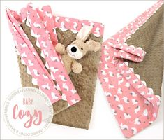 So soft for baby - Cuddle + Flannel Baby Blanket with Easy Self- Binding, ricrac and mitered corners: @fabricdepot & Shannon Fabrics @sew4home | Transform Your Space Made with Cuddle Dimple® http://bit.ly/RCXehr in Taupe http://bit.ly/1WPF36W #sew4Home #FabricDepot