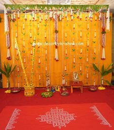 Decor by Krishna AP/ Telangana/ Karnataka/ Tamilnadu/ USA/Australia Simple Stage Decorations, Wedding Stage Decorations, Engagement Decorations, Wedding Ceremony Backdrop, Cradle Ceremony, Background Decoration, Pooja Rooms, Wedding Background, Eco Friendly House