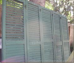 old shutters as privacy screen
