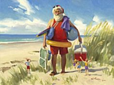Santa & elves celebrate on the seashore... - art by Tom Browning - (coastal Christmas, beach, sea, ocean, holidays)
