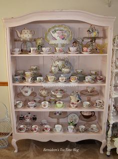 Today I thought I'd share some of my favorite English Bone China cups and saucers. I display them in this old armoire my husband . Casa Mimosa, Tea Cup Display, Dish Display, Tea Room Decor, China Display, Antique Dishes, China Cups And Saucers, My Cup Of Tea, Vintage China