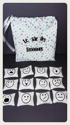 The bag of emotions with 12 illustrations Le sac des émotions avec 12 illustrations - Back To School Toddler Toys, Baby Toys, Kids Toys, Educational Toys For Toddlers, Activities For Kids, Preschool Crafts, Crafts For Kids, Autism Education, Nursery Prints