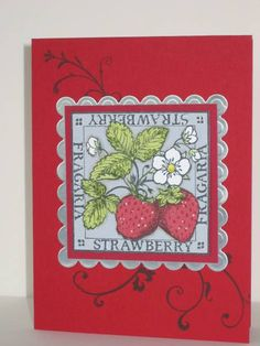 Paper Pieced Strawberries by pbft - Cards and Paper Crafts at Splitcoaststampers  (Feb'13)