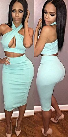 Sexy Crossover Halter Tops + Bust Skirt Two-piece Set