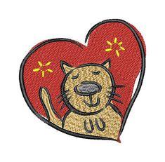 Heart, love, Valentine,  cat, machine embroidery design