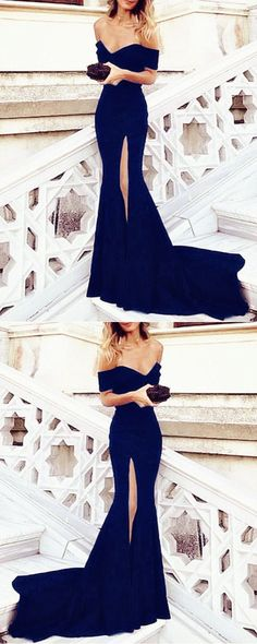 Charming V-neck Off Shoulder Mermaid Prom Dresses 2018 Long Formal Evening Gowns With Slit #eveningdresses