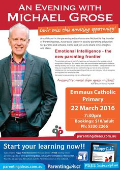 Michael Grose will be speaking on 'Emotional Intelligence – the new parenting frontier'