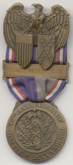 75TH ANNIVERSARY OF THE BATTLE OF GETTYSBURG MEDAL The old soldiers never forgot, and they are not forgotten today.