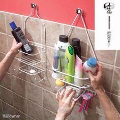 If you need more than shampoo and a bar of soap in the shower, here's how to provide space for all your vital beauty potions: Get a couple of those shelves that are designed to hang from a shower arm and hang them on cabinet knobs. Use No. 8-32 hanger screws ($1) to screw the knobs into studs or drywall anchors.