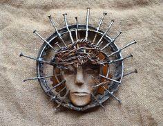 Scrap Metal Head of Christ by Birmingham metal artist Catherine Partain.