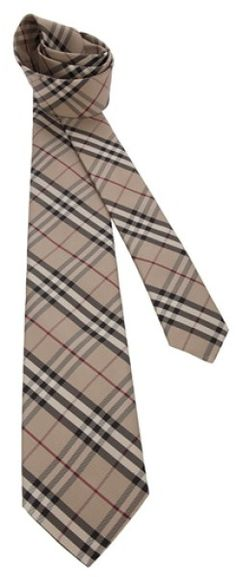 brown and white checkered tie pics | Burberry Checked Tie in Beige for Men (brown)
