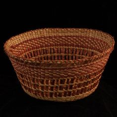 Strawberry Design Cedar Bark Basket woven by Alaskan Native Diane Douglas Willard in 2012 Glass Frog Bead Detailas Arctic Spirit Gallery - Native Art Gallery in Ketchikan Alaska Ketchikan Alaska, Glass Frog, Pine Needle Baskets, Pine Needles, Weaving Patterns, Native Art, Gourds, Basket Weaving, Nativity