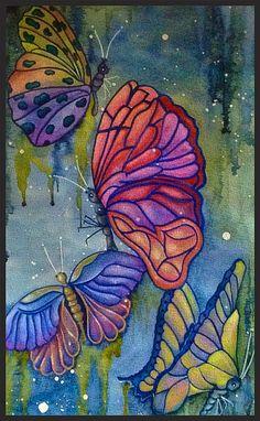 Vlinders in aquarel